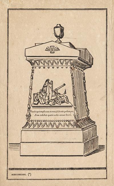 19e-eeuwse tekening van de ijzeren tombe met vrijmetselaarssymbolen en natuurkundig instrumentarium.