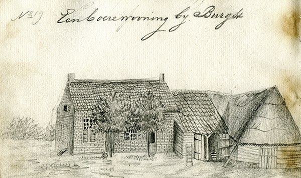 De Kleine Hoeve ca 1840. Potloodtekening uit een van de schetsboekjes van de plm. 18-jarige Carel Huysers, de jongste zoon van kerkarchitect Pieter Huysers (Antoniuskathedraal), die ook de gietijzeren tombe ontwierp.(uit privécollectie)